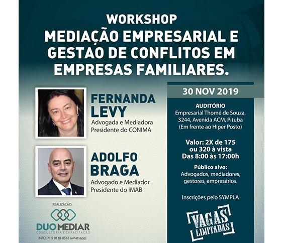 WORKSHOP   MEDIAÇÃO EMPRESARIAL E GESTÃO DE CONFLITOS EM EMPRESAS FAMILIARES